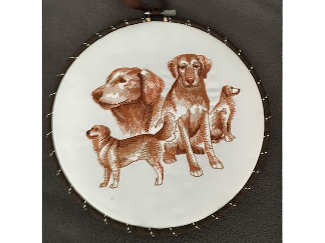 embroidered drawing of dogs