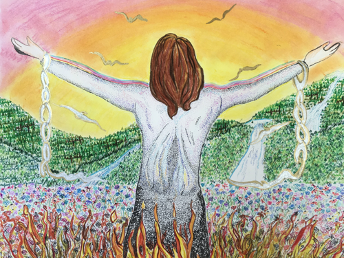 A free-hand colored drawing of a bare-chested man, facing away towards a sunrise or sunset and waterfalls, standing among flames of fire with broken chains hanging from his wrists. He is a light-skinned caucasian with long brown hair.