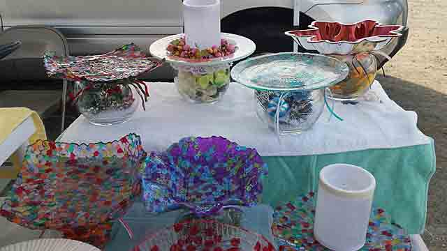 Colorful speckled glass bowls, candle-holders, cake plates, etc.