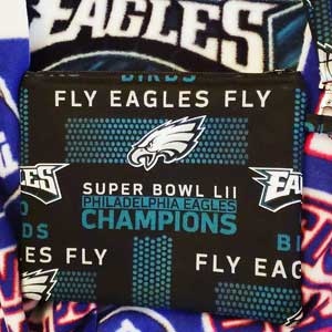 "Close-up photo of an Eagles scarf and matching tiny purse saying ""FLY EAGLES FLY"". White or turquoise on a black background.."