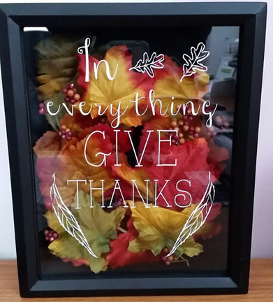 "black framed picture saying ""In everything GIVE THANKS"""