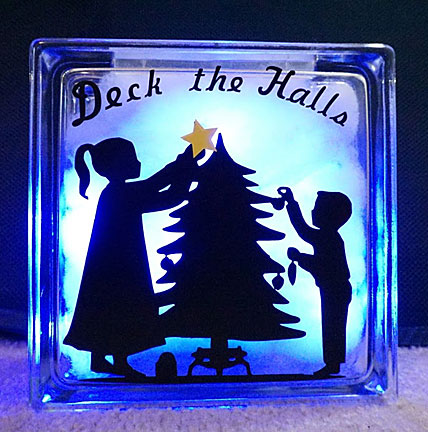 deck the halls on a square glass plaque