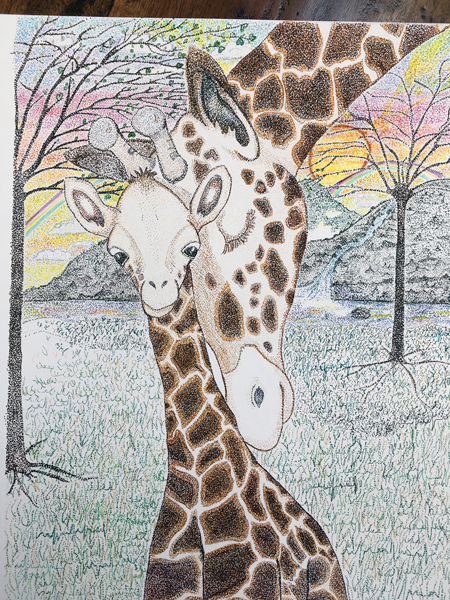 A colored drawing of a mother giraffe head to head with her young giraffe colt.