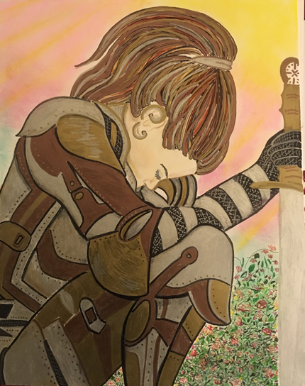 A warrior woman dressed in full battle armor sits hunched over nwith her sword in front of her. She seems fatigued or sad. Caucasian woman with long brown hair pulled back into a ponytail.