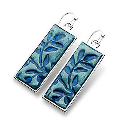 Alina rectangular blue earrings with French backing.