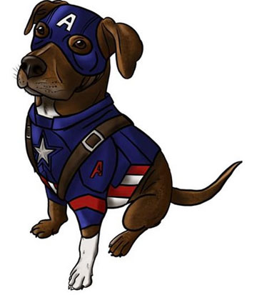 A cartoon dog ready for superhero action.