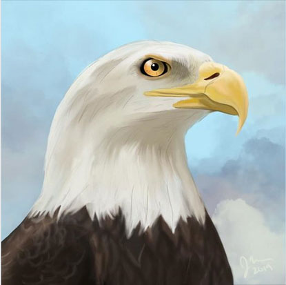 A realistic patriotic painting of an eagle's head.