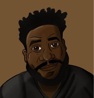 A cartoon drawing of an Afro American man with personality.