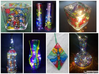 colorful hand-painted light-catchers and sun-catchers