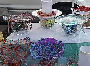 Colorful glass bowls, candle holders, cake plates, etc.