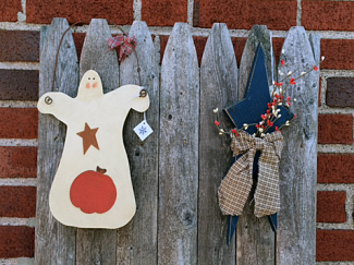 Two decorations: a friendly ghost and a star in pants