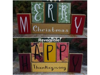wood block Merry Christmas & Thanksgiving